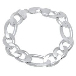 2mm-18mm Solid .925 Sterling Silver Flat Figaro Chain Bracelet