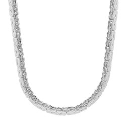 6.3mm Solid .925 Sterling Silver Flat Domed Byzantine Chain Necklace