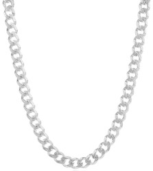 Men's 8.9mm .925 Sterling Silver Diamond-Cut Flat Cuban Link Curb Chain Necklace