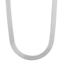 4.5mm Solid .925 Sterling Silver Flat Herringbone Chain Necklace