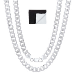 Men's 8mm .925 Sterling Silver Diamond-Cut Flat Cuban Link Curb Chain Necklace + Gift Box