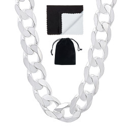13.5mm Solid .925 Sterling Silver Beveled Curb Chain Necklace