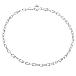3mm Solid .925 Sterling Silver Oval Cable Draw Flat Cable Chain Necklace