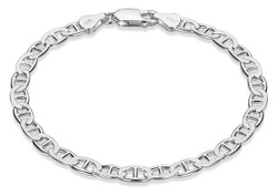 5mm-6mm .925 Sterling Silver Diamond-Cut Flat Mariner Chain Necklace or Bracelet