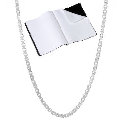 2.3mm Solid .925 Sterling Silver Square Box Chain Necklace + Gift Box