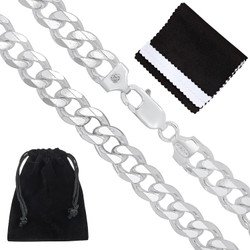 Men's 8.9mm Solid .925 Sterling Silver Beveled Curb Chain Necklace + Gift Box