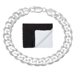 8.9mm Solid .925 Sterling Silver Beveled Curb Chain Bracelet + Gift Box
