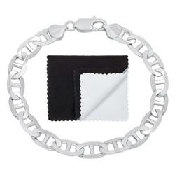 8mm Solid .925 Sterling Silver Flat Mariner Chain Bracelet