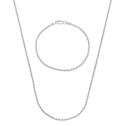 2mm .925 Sterling Silver Diamond-Cut Twisted Rope Chain Necklace + Bracelet Set + Gift Box