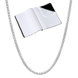 1.9mm Solid .925 Sterling Silver Square Box Chain Necklace