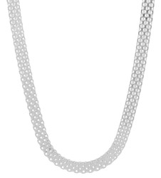 Men's 5.3mm Solid .925 Sterling Silver Flat Bismark Chain Necklace + Gift Box