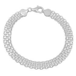 7.9mm Solid .925 Sterling Silver Flat Bismark Chain Bracelet