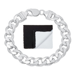 10.5mm Solid .925 Sterling Silver Beveled Curb Chain Bracelet