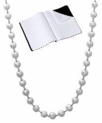 4mm Solid .925 Sterling Silver Ball Military Ball Chain Necklace + Gift Box