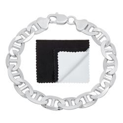 Men's 10mm Solid .925 Sterling Silver Flat Mariner Chain Bracelet + Gift Box