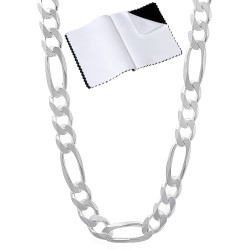 Men's 5.5mm Solid .925 Sterling Silver Flat Figaro Chain Necklace + Gift Box