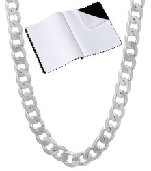 Men's 5mm Solid .925 Sterling Silver Beveled Curb Chain Necklace + Gift Box