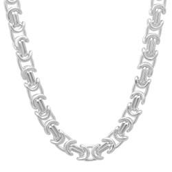 6.1mm Solid .925 Sterling Silver Flat Byzantine Chain Necklace
