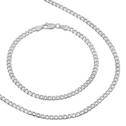 3.5mm Solid .925 Sterling Silver Flat Cuban Link Curb Chain Necklace + Bracelet Set
