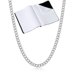 3mm Solid .925 Sterling Silver Beveled Curb Chain Necklace + Gift Box