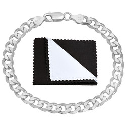 6.5mm Solid .925 Sterling Silver Beveled Curb Chain Bracelet + Gift Box