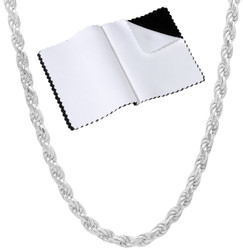 3.2mm .925 Sterling Silver Diamond-Cut Twisted Rope Chain Necklace + Gift Box
