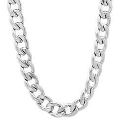 6.7mm High-Polished Stainless Steel Flat Cuban Link Curb Chain Necklace + Gift Box
