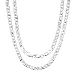 5.3mm High-Polished Stainless Steel Flat Cuban Link Curb Chain Necklace, 18'-30