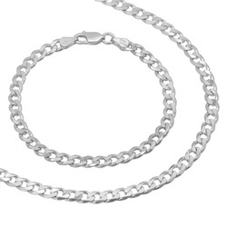 5mm Solid .925 Sterling Silver Flat Cuban Link Curb Chain Necklace + Bracelet Set + Gift Box