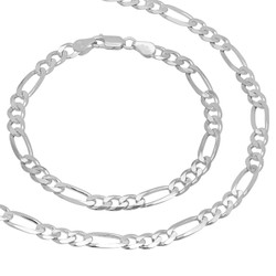 5.5mm Solid .925 Sterling Silver Flat Figaro Chain Necklace + Bracelet Set