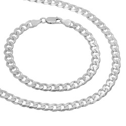 6.5mm Solid .925 Sterling Silver Flat Cuban Link Curb Chain Necklace + Bracelet Set