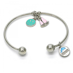 Rhodium Plated Sail Boat, Smiley Face, and Miami Dolphin Charm Cuff Bracelet 7.2' + Polishing Cloth