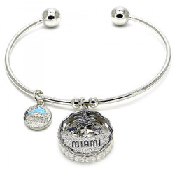 Rhodium Plated Miami Tree and Dolphin Charm Cuff Bracelet 7.2 inches + Polishing Cloth