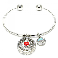 Rhodium Plated Heart and Miami Dolphin Charm Cuff Bracelet 7.2 inches + Polishing Cloth