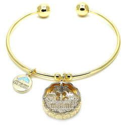 22mm 14k Yellow Gold Plated Clear Cubic Zirconia Round Charm Bracelet, 7.5 inches