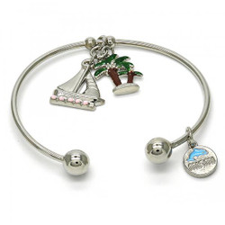 22mm Rhodium Plated Brass Rhodium Plated Brass Rhodium Plated Round Charm Bracelet, 7.5 inches