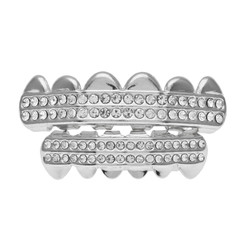 14k White Gold Plated CZ Iced Out Removable Top & Bottom Teeth Grillz Set + Polishing Cloth