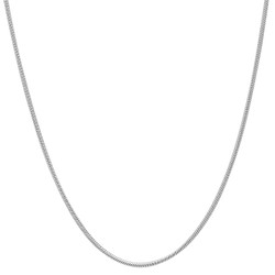 1mm Polished 0.16 mils (4 microns) Rhodium Plated Silver Round Snake Chain Necklace