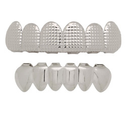 14k White Gold Plated Diamond-Cut Removable Top & Bottom Teeth Grillz Set