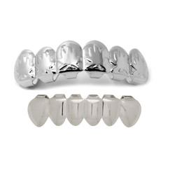 14k White Gold Plated Marijuana Pot Weed Leaf Removable Top & Bottom Teeth Grillz Set