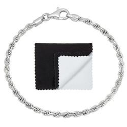 3.2mm .925 Sterling Silver Diamond-Cut Twisted Rope Chain Bracelet