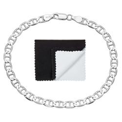4.2mm Solid .925 Sterling Silver Flat Mariner Chain Bracelet