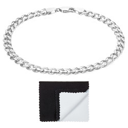 5mm Solid .925 Sterling Silver Flat Curb Chain Bracelet + Gift Box