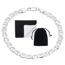 5.3mm Solid .925 Sterling Silver Flat Mariner Chain Bracelet