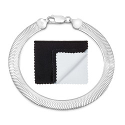 6.7mm Solid .925 Sterling Silver Flat Herringbone Chain Bracelet + Gift Box