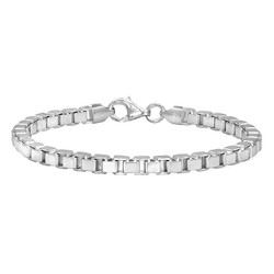4.5mm Solid .925 Sterling Silver Square Box Chain Bracelet