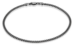 3mm Black Plated Silver Beveled Curb Chain Bracelet
