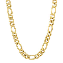 4.6mm 24k Yellow Gold Plated Flat Figaro Chain Necklace + Gift Box