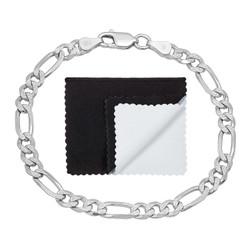 5.2mm .925 Sterling Silver Diamond-Cut Flat Figaro Chain Bracelet