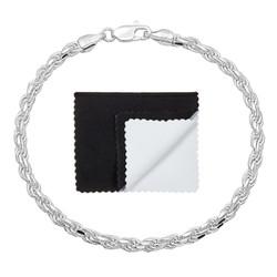 3.5mm .925 Sterling Silver Diamond-Cut Twisted Rope Chain Bracelet